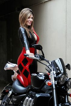women on bikes, women in red, women on motorcycles, harley Quinn outfit, women in heels, Triumph motorcycle,