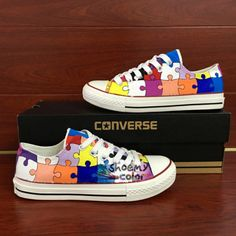 d8ff6f8ea5ca95 Converse All Star Puzzle Hand Painted Shoes Low Top Canvas Sneakers -  Shoemycolor.artfire.com