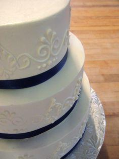 Wedding Cake, blue ribbon