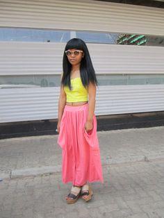A hint of neon. Neon, Skirts, Style, Fashion, Moda, Fashion Styles, Neon Colors, Skirt, Fashion Illustrations