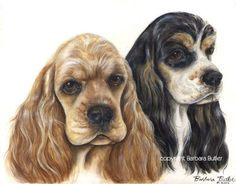 Cocker Spaniel Print of Painting Buff and Tri Color Heady Study Signed by Artist Bar Butler. $99.00, via Etsy.