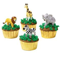 Our Cool Zoo Cupcakes are super-easy to make! Top them with Wilton's Jungle Animals Topper Set, Or with modeling chocolate. Safari Party, Jungle Theme Parties, Jungle Party, Zoo Party Food, Jungle Safari, Safari Cupcakes, Themed Cupcakes, Party Cupcakes, Easy Animal Cupcakes