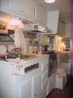 Very cute trailer kitchen that looks like it belongs in a real house #camper #trailer #rv #caravan
