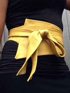 XXL Mosterd yellow asymetric genuine leather obi belt by SmpliAnwi: