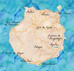 Carte de l'île de Gran Canaria.