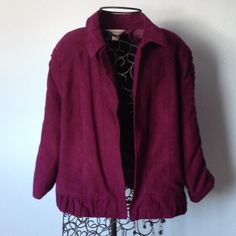 "Purple lined jacket. 3/4 sleeves,  Dressy. Fully lined,  three quarter sleeve jacket. Has detail gathers on sleeves and bottom hem. Fabric has ""suede "" feel, is 100% polyester. Open front (no buttons or zipper).  Length is 22"" measured from base of collar on back, to bottom of hem. Has shoulder pads. Dressy. Gently worn. Christopher & Banks Jackets & Coats"