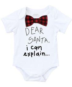 aca643f707a Baby Boy Christmas Outfit Dear Santa I Can Explain Buffalo Plaid