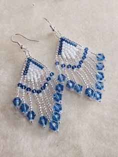 (Tutorial) Crystal Feather Earrings (Video - My Jewelry Tutorials - Seed Bead Jewelry, Bead Jewellery, Seed Bead Earrings, Feather Earrings, Diy Earrings, Hoop Earrings, Crystal Earrings, Wire Jewelry, Feather Jewelry