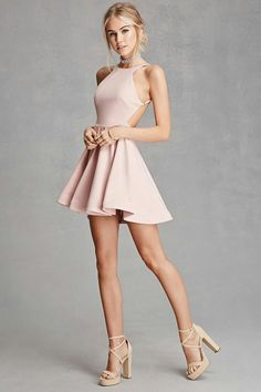 Fashion clothes 765119424168022481 - A knit fit and flare dress by Selfie Leslie™ featuring a round neckline, adjustable side cami straps, a backless design, a full circle skirt with a weighted hem, and an exposed back zipper. Source by filledecente Hoco Dresses, Pretty Dresses, Sexy Dresses, Beautiful Dresses, Bridesmaid Dresses, Fashion Dresses, Cute Teen Dresses, Short Casual Dresses, Fashion Clothes