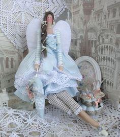 Куклы Тильды ручной работы. Ярмарка Мастеров - ручная работа. Купить Винтажный ангел интерьерная кукла тильда. Handmade. Голубой
