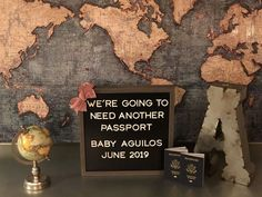 Our travel themed pregnancy announcement - Baby Garrison 2019 - Pregnant Women Travel Party, Us Travel, Pregnancy Tips, Pregnancy Photos, Traveling With Baby, Traveling By Yourself, Creative Baby Announcements, Travel Theme Nursery, Birth Announcement Boy