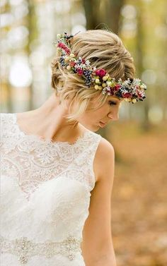 A flower crown? It can be a little heavy to wear, maybe too big on your head if the flowers are not chosen right, but it also gives a very bohemian look which can be niceee.