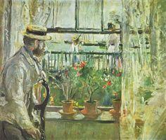 Berthe Morisot ~ Eugène Manet op het eiland Wight ~ 1875 ~ Olieverf op doek ~ 38,1 x 46 cm. ~ Musée Marmottan Monet, Parijs