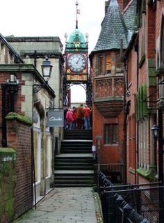The Clock tower, Eastgate Street, Chester Cheshire, stands on the site of the original entrance to the Roman fortress of Deva Victrix.