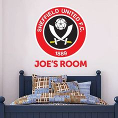 Official Licensed Football & Entertainment Wall Stickers - Sheffield United Bedroom Football Gifts - The Beautiful Game Football Bedroom, Football Wall, Football Stickers, Sheffield United Wallpaper, Sheffield United Fc, Mural Wall, Wall Art, Bedroom Furniture, Bedroom Decor