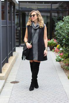 Fringe Purse   Sweater Dress   OTK Suede Boots   Fall Fashion