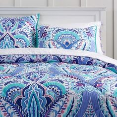 Kaleidoscope Comforter, Full/Queen, Blue Multi