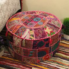 Pink Bohemian Pouf Ottoman Indian pouffe Ethnic Footstool floor pillow Indian Embroidered pouffe Patchwork Floor seating boho Floor pouf by MultimateCollection on Etsy