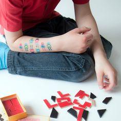 Tiny Robots temporary tattoos by Emily Dumas