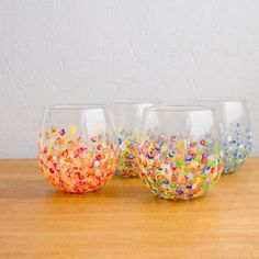 DIY Colorful Hand-Dotted Tumblers   22 Unique Q-Tip Crafts