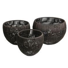 3 Piece Resin Wicker Basket Set