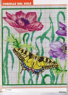 ru / Foto # 41 - Rakam - part Butterfly Cross Stitch, Butterfly Embroidery, Cross Stitch Flowers, Cross Stitching, Cross Stitch Embroidery, Embroidery Patterns, Cross Stitch Patterns, Anemone Flower, Butterfly Flowers