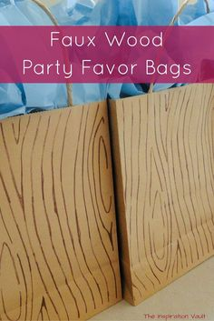 Easy step-by-step tutorial with photos to show you how to make these adorable Faux Wood Party Favor Bags for your Bigfoot, outdoor, or camping party. Bigfoot Birthday, Bigfoot Party, Camping Ideas For Couples, Camping Parties, Camping Theme, Camping Party Favors, Gruffalo Party, Lumberjack Birthday Party, Ideas