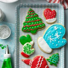 Holiday Cutout Cookies Recipe -The only limit to these fun cutouts is your cookie cutter collection and your imagination! If you prefer crisp cookies, sprinkle with colored sugar before baking and skip the frosting. —Anne Grisham, Henderson, Nevada