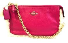 NWT Coach Shearling Leather MX Large Wristlet Cranberry Pink/Natural F64705…