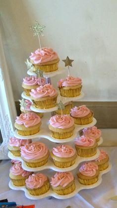Pink and gold cupcakes for twinkle twinkle little star first birthday