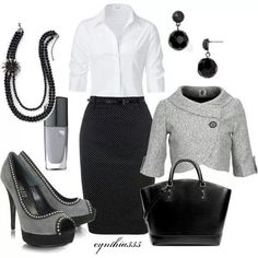 16 Office Outfits Ideas You Should Not Miss--work outfit ideas 2015 Office Attire, Work Attire, Office Outfits, Office Wear, Office Chic, Outfit Work, Office Style, Grey Outfit, Stylish Office