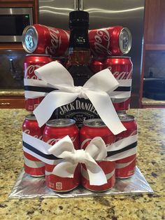 """Such a cute and easy idea/gift for JD lovers [: Jack & Coke """"cake"""" tower! Such a cute and easy idea/gift for JD lovers [:. Birthday Party Drinks, Adult Birthday Cakes, 50th Birthday Gifts, Diy Birthday, Liquor Cake, Coke Cake, Alcohol Cake, Alcohol Gifts, Craft Gifts"""