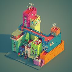 Voxel city - Voxel art on Behance Isometric Art, Isometric Design, Isometric Shapes, Game Concept, Concept Art, Enter The Void, Voxel Games, Anime City, Minecraft Architecture