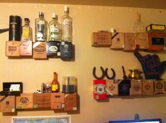 Love this cigar box floating shelf idea! Could be used in an old world decor setting! Cigar Box Projects, Cigar Box Crafts, Cigar Box Art, Cigar Bar, Box Shelves, Shelf, Shelving, Altered Cigar Boxes, World Decor