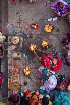 After Ganges Puja, Varanasi Ghats, India