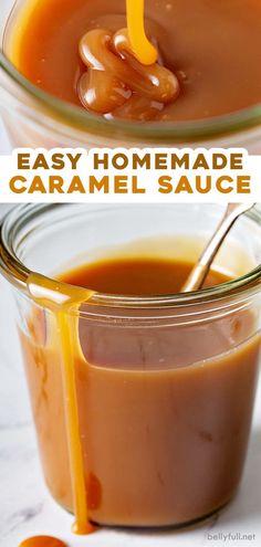 Homemade Caramel Recipes, Homemade Sauce, Recipes With Caramel Sauce, Easy Carmel Sauce, Homemade Caramels, Recipe For Carmel, Caramel Sauce Recipe For Coffee, Simple Caramel Recipe, Carmel Topping Recipe