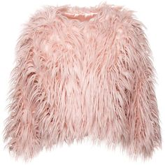 Bleeding Heart Cropped Faux Fur Jacket (Pink) (2.095 RUB) ❤ liked on Polyvore featuring outerwear, jackets, pink jacket, fake fur jacket, pink cropped jacket, cropped jacket and faux fur jacket