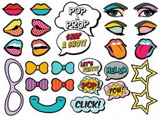 25 Printable Pop Art Photo Props by Design is Yay on Creative Market