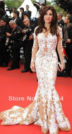 2013 Sexy Najwa Karam In Cannes Evening Dresses Long Sleeves White Lace Celebrity Dresses New Design 2013 Dresses for Celebrity $239.00