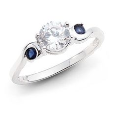 Mandie .75ct solitaire with sapphires