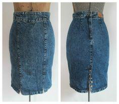 Vintage 1980s Denim Pencil Skirt High Waisted by rileybella123, $30.00