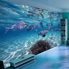 Custom photo wallpaper papel parede underwater world of marine fish living children's room TV background mural wall paper(China (Mainland)) 3d Wallpaper Cartoon, Wall Stickers Wallpaper, Floor Wallpaper, Fish Wallpaper, Modern Wallpaper, Photo Wallpaper, Bathroom Stickers, Waterfall Wallpaper, Wall Art