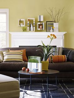 Love these colours for our new living room!  I already have the brown couches.