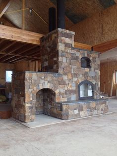 Masonry heater with white bake oven.