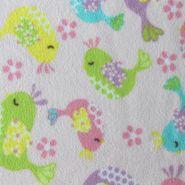 Anti- Pill Fleece Fabric- Pastel Birds