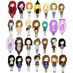 All the Chibi Girls by crybaby1117 on Polyvore featuring polyvore and art
