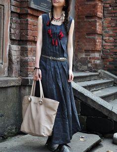 Linen Blue Summer Dress / Long Pleated Maxi Dress by camelliatune, $84.00