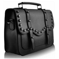 27f4a326cae6 Brown Bolt Studded Satchel Crossbody Handbag (12″ x 9″) with PreciousBags  Dust