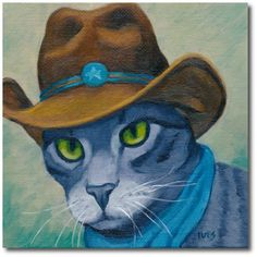 RKIves Original Oil Painting: Cats Wearing Hats #Realism