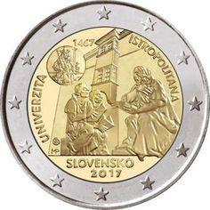 Detailed images and information about coin series Commemorative 2 euro coins. Bratislava, Billet En Euros, Euro Währung, Piece Euro, Timbre Collection, Euro Coins, Gold And Silver Coins, Coins For Sale, Commemorative Coins